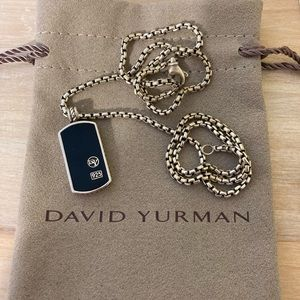 David Yurman Black Onyx Pendant & Box Link Chain